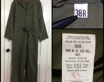 deadstock 1940s 1943 WW2 US Military mechanic's coveralls jumpsuit size 38R cotton HBT olive green HD Lee Co. Union-alls star buttons #101