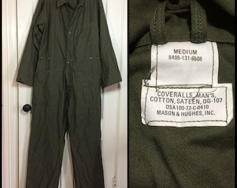 deadstock 1970's US Military coveralls jumpsuit size Medium cotton sateen OG-107 olive green 1972 Mason Hughs #102
