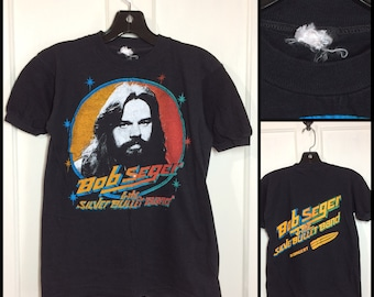 1970s Bob Seger and the Silver Bullet Band in Concert classic rock band t-shirt looks size small 16.5x22 black cotton barely used condition