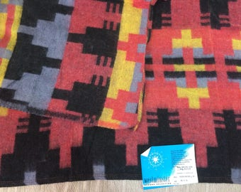 1950s deadstock camp blanket 45x72 inch by Westminster Comanche design Navajo Indian Southwest patterned throw salmon pink black yellow blue
