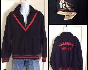 Vintage 1950s half zip Fleece Pullover Black Red Chevron Stripe size 44 Felco American House