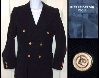 1980s designer Pierre Cardin Paris made in France tailored black blazer diagonal corduroy double breasted gold buttons looks size medium