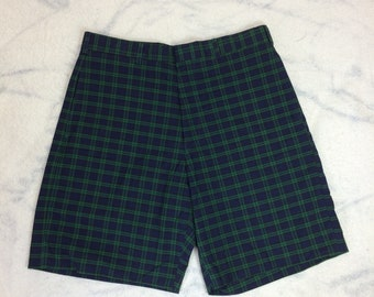 deadstock 1960s plaid burmuda shorts dark blue green size 34 all cotton made in USA lined flat front skate punk grunge NOS NWT