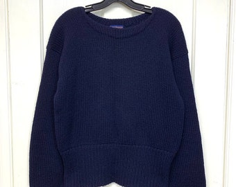 1950s Campus wool varsity pullover sweater looks size small blank navy blue Sportswear University College Ivy League school long cuffs