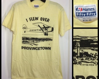 1980s I flew over Provincetown Massachusetts Cape Cod souvenir t-shirt size medium 17x25 small airplane N205W pilot aircraft yellow Hanes