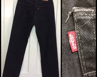1990s Levi's 501 black denim 34X32, measures 32x31 straight leg button fly made in USA boyfriend jeans #332
