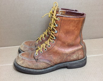 vintage Red Wing brown leather work boots size 7 narrow, hook lace made in USA redwing