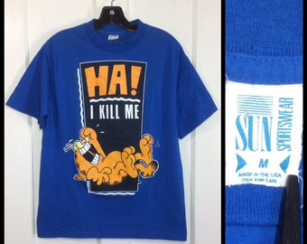 1980s Garfield t-shirt size medium 18.5x25 character cartoon cat Ha I kill me! laughing all cotton blue made in USA