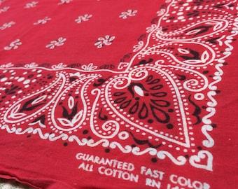 1950's Guaranteed Fast Color Paisley Hearts Pinwheel dots Print red Bandana 19x20 hemmed all Cotton selvedge #67