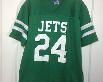 Vintage 1980's New York Jets Football Team Jersey T-shirt size Large 19.5x26 NFL number 24 Rawlings made in USA sewn stripes sleeves
