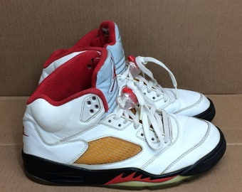 new styles d3d28 cb5d6 1999 Nike Air Jordan 5 basketball shoes Hi Top sneakers men s size 9 fire  red white black AJ-5