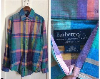 Vintage 1990's Burberry's Plaid Cotton Madras Mens Shirt size Large Blue Pink Turquoise