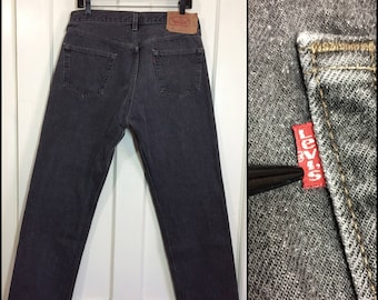 1990s Levi's 501 button fly jeans 36X30, measures 34x30 black straight leg denim boyfriend jeans made in USA #345