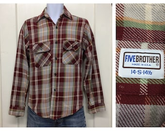 distressed 1970s Five Brother heavy cotton flannel shirt size small rust red light gray green plaid work workwear made in USA