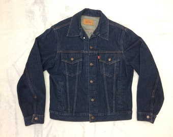 1990s Levi's denim blue jean jacket size 42 dark wash made in Canada #948