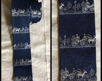 Vintage 1960's Dark Blue Horse and Buggy Square End Necktie Skinny Tie City Scene White Patterned