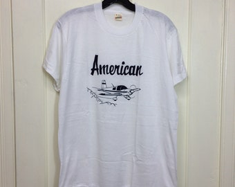 deadstock 1980s American aircraft airplane t-shirt size large 19x26 pilot thin white tee screen stars made in USA NOS
