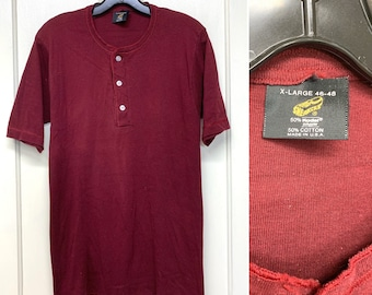 1970s dark burgundy red henley neck thermal undershirt tag size XL, looks small short sleeve t-shirt sneakers brand made in USA