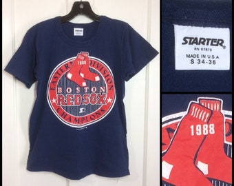 Boston Red Sox 1988 Eastern Division Championships baseball team tshirt size small 16x22 Starter brand all cotton old logo made in USA as-is