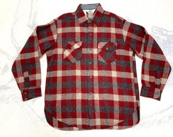 1980s Woolrich plaid wool flannel shirt size large burgundy red gray buffalo plaid made in USA