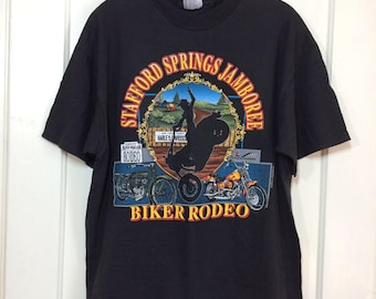 1990's 1992 Stafford Speedway Biker Rodeo Jamboree Harley Davidson Motorcycle black cotton t-shirt size Large 21x27 Connecticut Cowboy