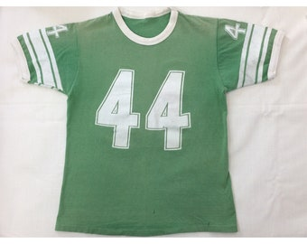 1960s 1970s faded green cotton number 44 striped ringer t-shirt looks size small 17x23 football jersey tee
