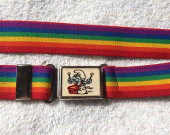 deadstock 1980s rainbow Drummer Smurf stretchy elastic belt size small Pride Month Peyo