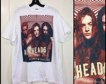 1990s Airheads movie 1994 t-shirt size XL 23x29 Adam Sandler Steve Buscemi Brendan Fraser comedy grunge rock band humor made in USA