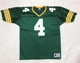 1990s NFL Green Bay Packers football jersey 4 Brett Favre size 44 Champion brand made in USA green yellow striped throwback Super Bowl party