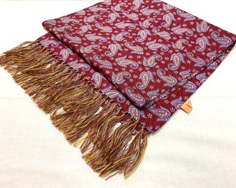 1940s paisley silk ascot by Cisco cravat opera scarf burgundy red lavender formal