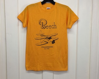 deadstock 1980s Beech Staggerwing G17S small vintage airplane t-shirt size boys 14-16 15x22 pilot aircraft thin yellow Hanes made in USA NOS