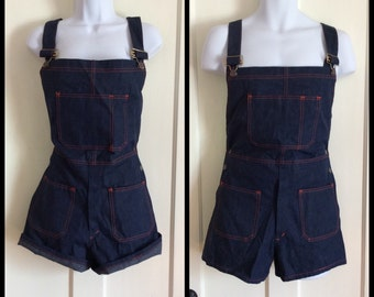 1970s Deadstock denim overalls short shorts size 34 NOS Dark Blue