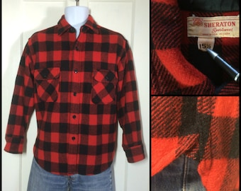 Vintage 1950's bright red and black Wool Shirt Buffalo Plaid size 15.5 Medium Sheraton Sportswear with Gussets Union made in USA