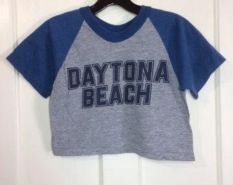 1980s baseball style midriff t-shirt crop top size medium, looks XS 15.5x12 Daytona Beach Spring Break 2 tone heather gray blue