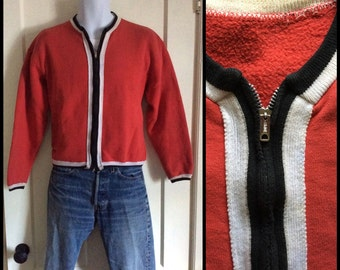 1950s vintage zipper cardigan sweatshirt size Medium red black white border striped rockabilly