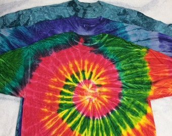 pick one- 1990s tie dye t-shirt size XL all cotton made in USA single stitch red purple turquoise rainbow blank tee boho hippie grunge