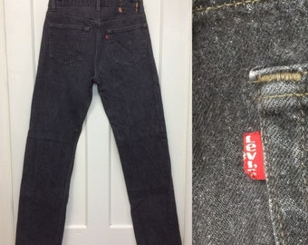 1980s black denim 501 Levis jeans 32x34 measures 31x33 tall boyfriend jeans made in USA barely used condition #363