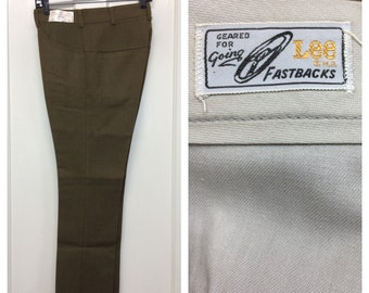 deadstock 1960s Lee Fastbacks peg leg pants 30x28 olive brown soft rayon blend burlap mod punk Ivy League preppy high water floods NOS NWT