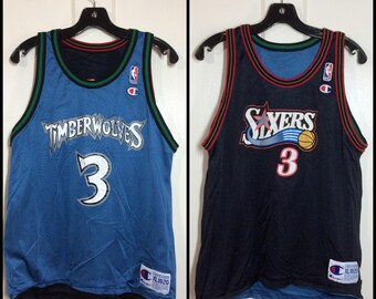 reversible NBA jersey Stephon Marbury #3 Wolves Timberwolves Allen Iverson Sixers 76ers basketball Champion Jersey youth size XL 18-20