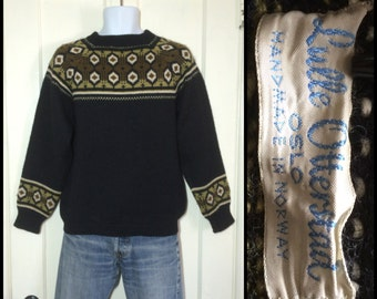 1960's Handmade in Norway Lulle Otterstad, Oslo black Pullover Wool Ski Sweater looks size Small to Medium Brown Green Abstract Fair Isle