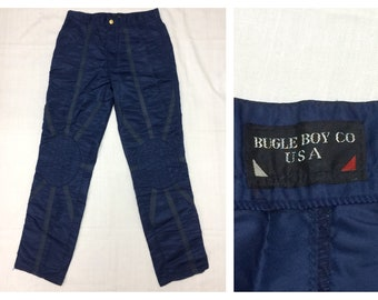1980s Bugle Boy nylon parachute pants size 30 X 31 dark blue knee pads punk skater new wave
