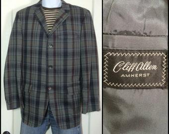 Vintage 1960's 3 button Sport Jacket Blazer looks size Large muted Olive Green Dark Burgundy Gray Black Plaid