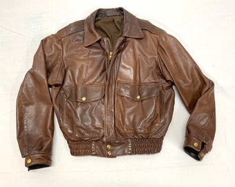 1970s soft brown leather bomber jacket looks size small by Tunstall Leathers made in USA