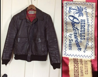 Vintage 1950's Hercules by Sears Horsehide Leather Bomber Jacket brown size 36 styled and made in California selected front quarter