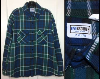 1980's 5 five Brother heavy flannel cotton plaid shirt size XL blue green black white excellent condition made in USA