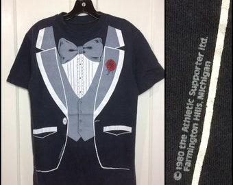 1980's tuxedo New Year's Eve prom wedding semi-formal t-shirt looks size medium 18.5x27 faded black tux tee
