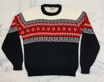 1950s fair isle sweater size large by Sedgewick Sportswear black white red winter ski holiday acrylic