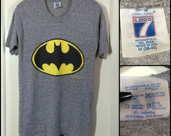 Vintage 1989 Batman Logo T-shirt size Medium 17x28 heather gray Tri Blend rayon Logo 7, DC Comics