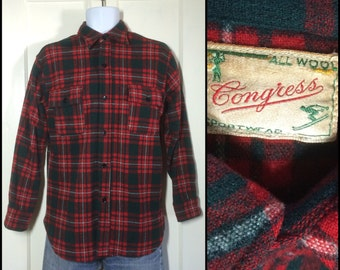 Vintage 1950's Congress Sportswear all Wool Shirt red dark green white Plaid looks size medium