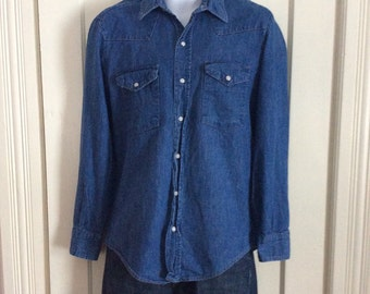 Vintage Dakota Five Brother Denim Mens Western Work Shirt size Large